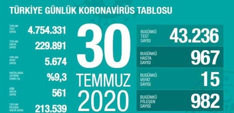 30 Temmuz Türkiye Korona Tablosu